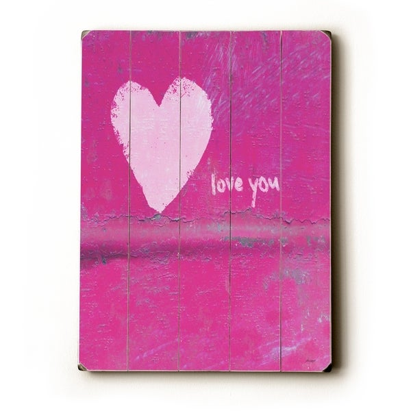 heart love you - Planked Wood Wall Decor by Lisa Weedn