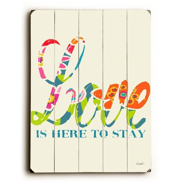 Love is here - Planked Wood Wall Decor by Lisa Weedn