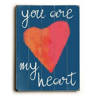 You are my Heart Blue -   Planked Wood Wall Decor by Lisa Weedn