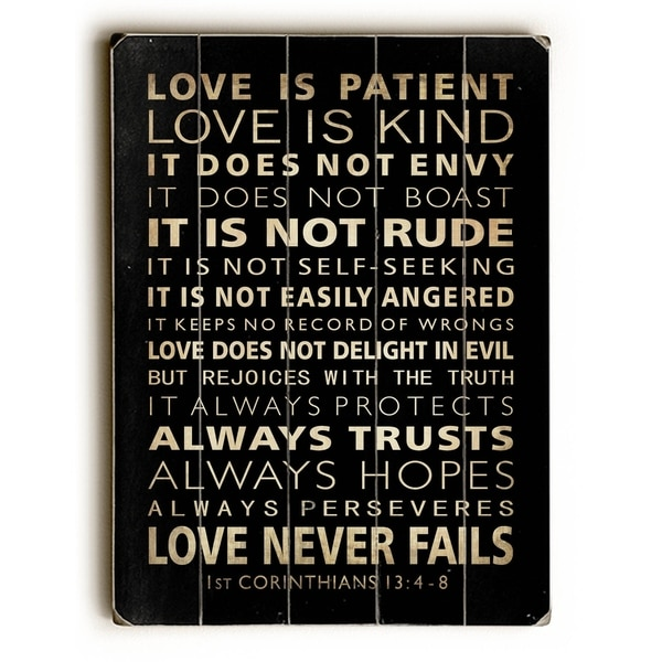 Love is Patient - Planked Wood Wall Decor by Nancy Anderson