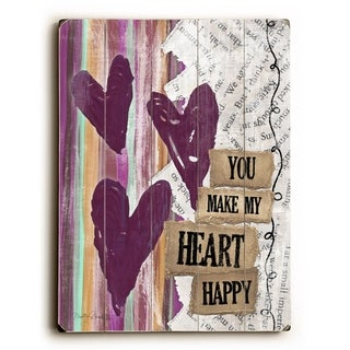 You make my heart happy -   Planked Wood Wall Decor by Misty Diller
