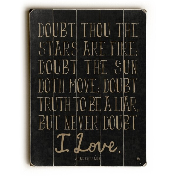 Never Doubt - Planked Wood Wall Decor by Lisa Weedn
