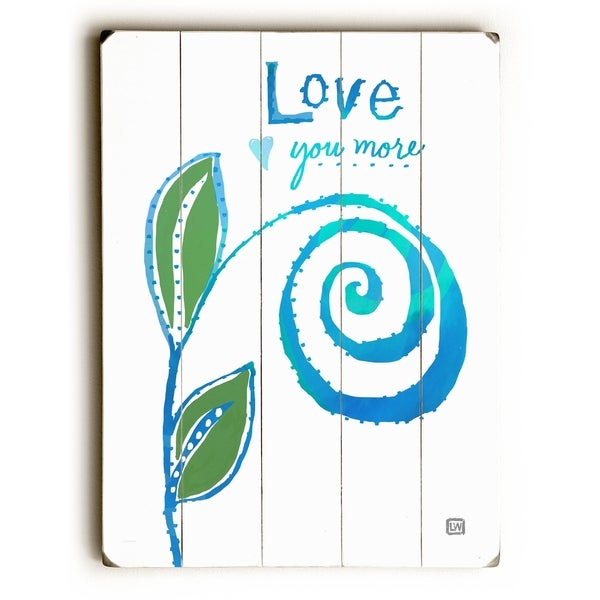 Love You More Swirl - Planked Wood Wall Decor by Lisa Weedn
