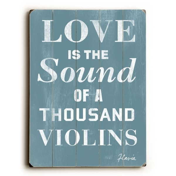 Love is the Sound - Planked Wood Wall Decor by FLAVIA
