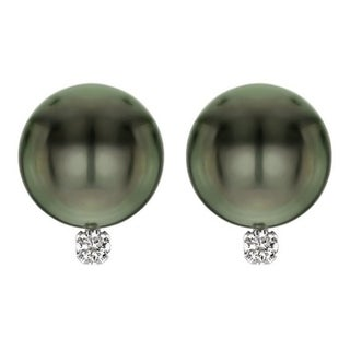 Super Deal! Pearlyta 14k White Gold AAA Tahitian Cultured Pearls with 1/10cttw Diamond (H-I Color, I1-I2 Clarity) Stud Earrings
