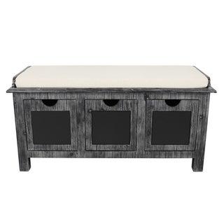 Rowan 3-Drawer Weathered Chalkboard Bench