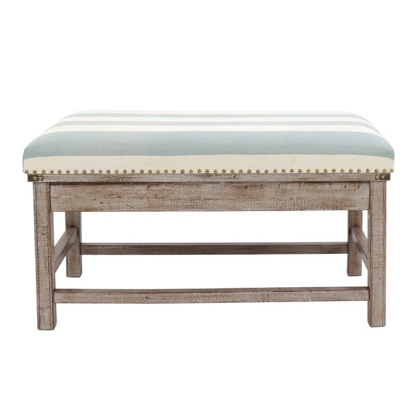 Farley Brown Wood Upholstered Weathered Ottoman by Generic
