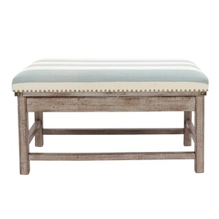Farley Brown Wood Upholstered Weathered Ottoman