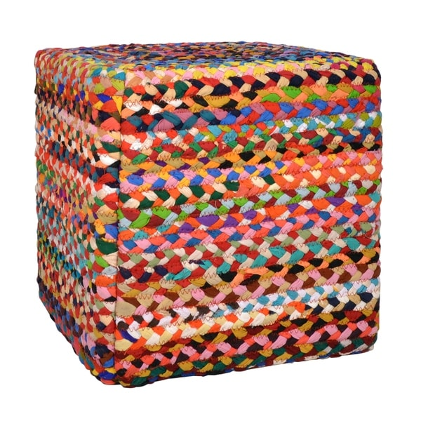 Shop Denton Multi Colored Cubical Pouf Free Shipping