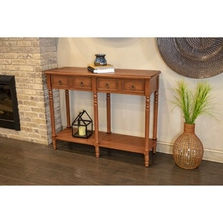 Carter Walnut-finish Wood 2-drawer Console Table