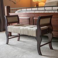 Savannah Linen Upholstered Wooden Sleigh Bench