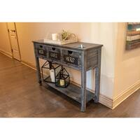 Rowan 3-drawer Weathered Chalkboard Grey Console Table