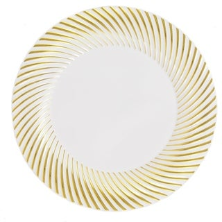 Kaya Collection - Disposable Plastic Round Plates with Swirl Rim