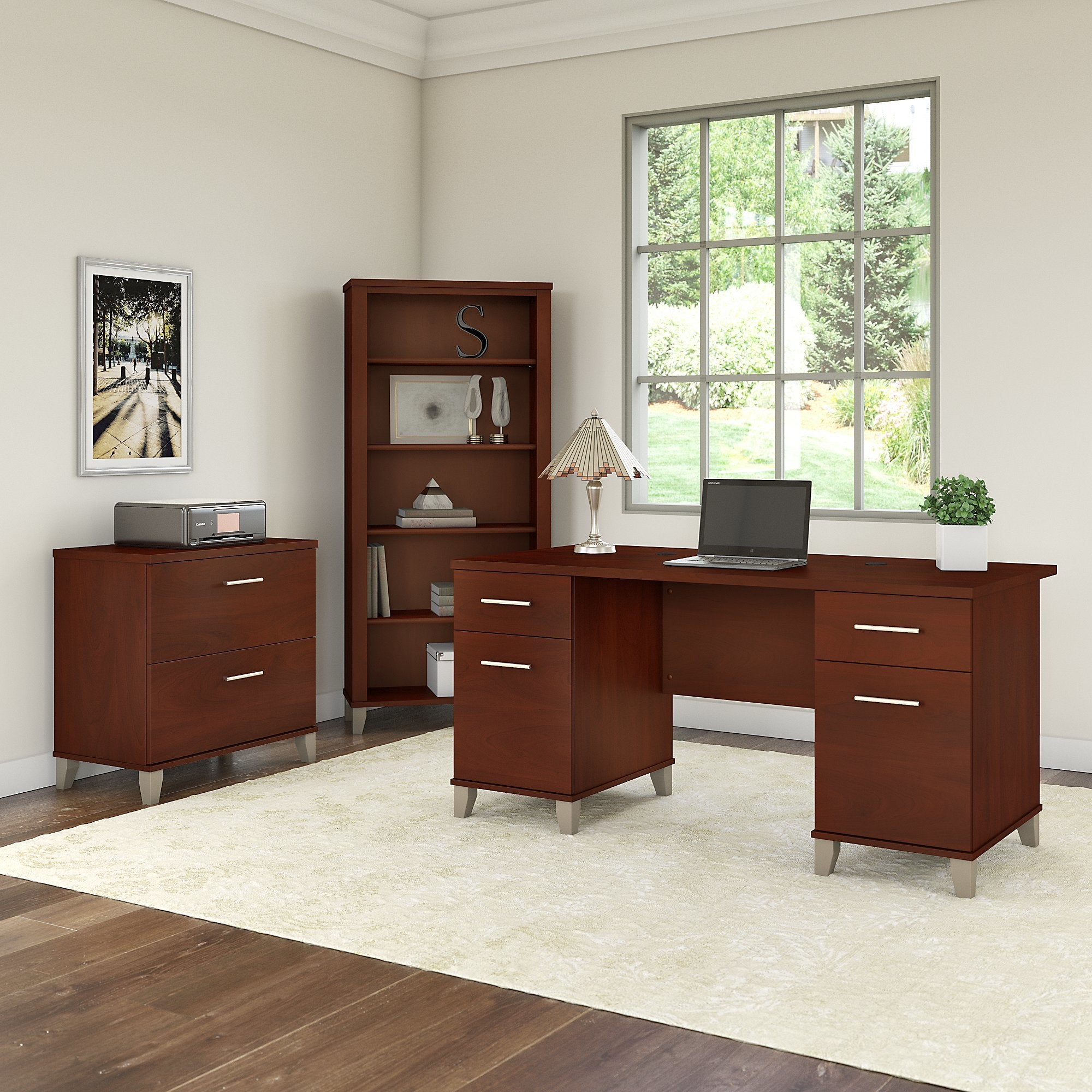 Copper Grove Shumen 60 Inch Office Desk With Cabinet And 5 Shelf Bookcase In Cherry