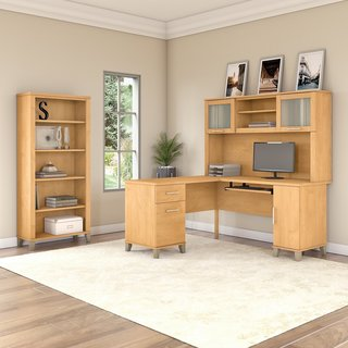 Somerset 60W L Shaped Desk with Hutch and 5 Shelf Bookcase in Maple