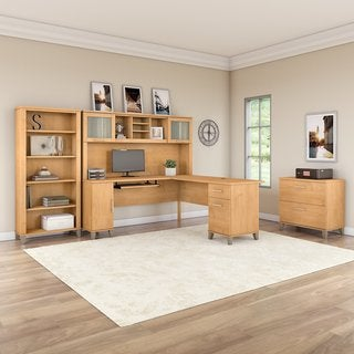 Bush Furniture Somerset 72W L Shaped Desk with Hutch, Lateral File Cabinet and Bookcase in Maple Cross
