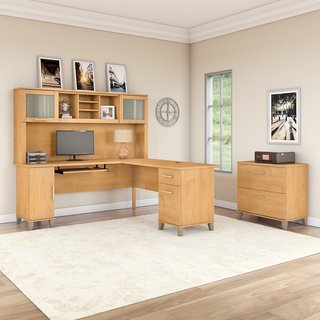 Somerset 72W L Shaped Desk with Hutch and File Cabinet in Maple Cross