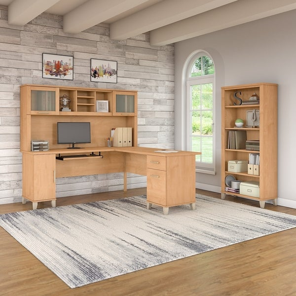 Shop Somerset 72w L Shaped Desk With Hutch And Bookcase In