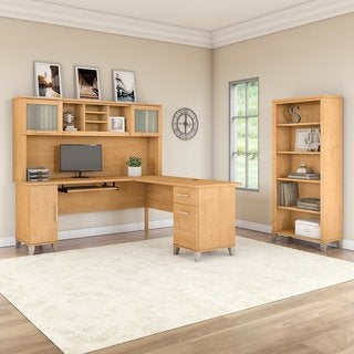 Somerset 72W L Shaped Desk with Hutch and Bookcase in Maple Cross