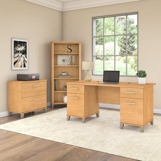 Somerset 60W Office Desk with File Cabinet and Bookcase in Maple Cross