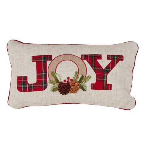 Holiday Decorative Down-Filled Throw Pillow With Red Plaid Design