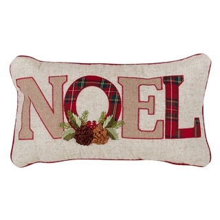 Christmas Down-Filled Throw Pillow With Noel And Red Plaid Design