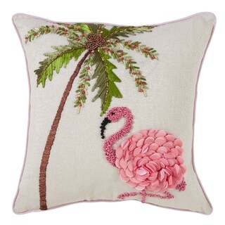 Stitched Flamingo & Palm Tree Down Filled Throw Pillow