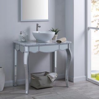 Neudella Mirrored Vanity Sink with Natural Marble Countertop