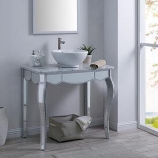 Harper Blvd Neudella Mirrored Vanity Sink with Natural Marble Countertop