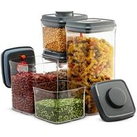 Airtight Food Storage Containers - 10 Piece Set- Easy To Open and Lock Pop & Push Button Lids, BPA-free Plastic, Pantry Dry Food