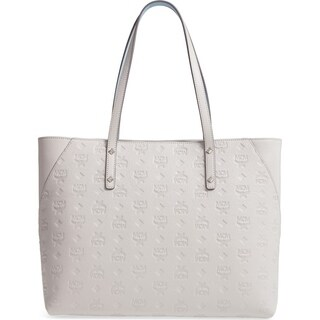 MCM Klara Monogram Leather Top Zip Dove Shopper