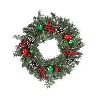 28 Inch LED Ball/Berry/Cone Pine Wreath