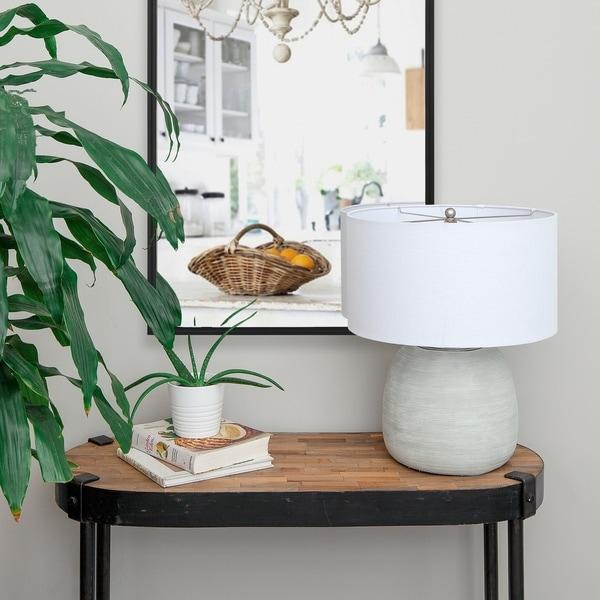 Shop Renwil Caldera Gray Ceramic Table Lamp - On Sale - Free