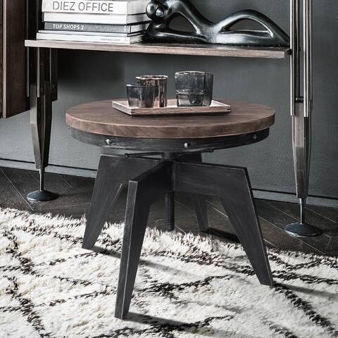 Armen Living Dayton Industrial Coffee Table in Industrial Grey and Pine Wood Top