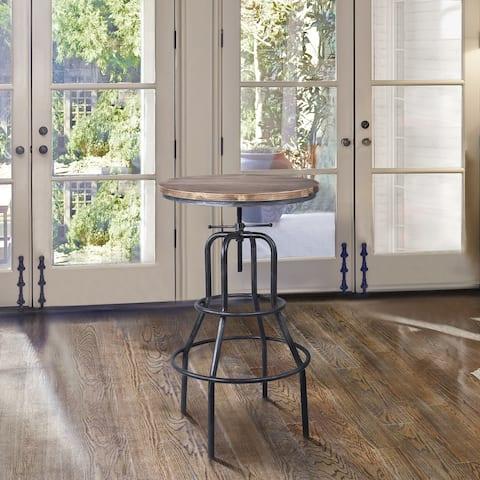 Armen Living Titan Industrial Adjustable Pub Table in Industrial Grey and Pine Wood Top