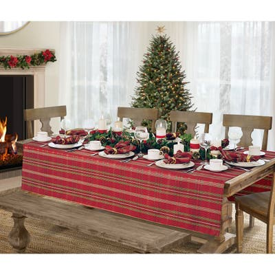 Elrene Shimmering Plaid Holiday Christmas Tablecloth