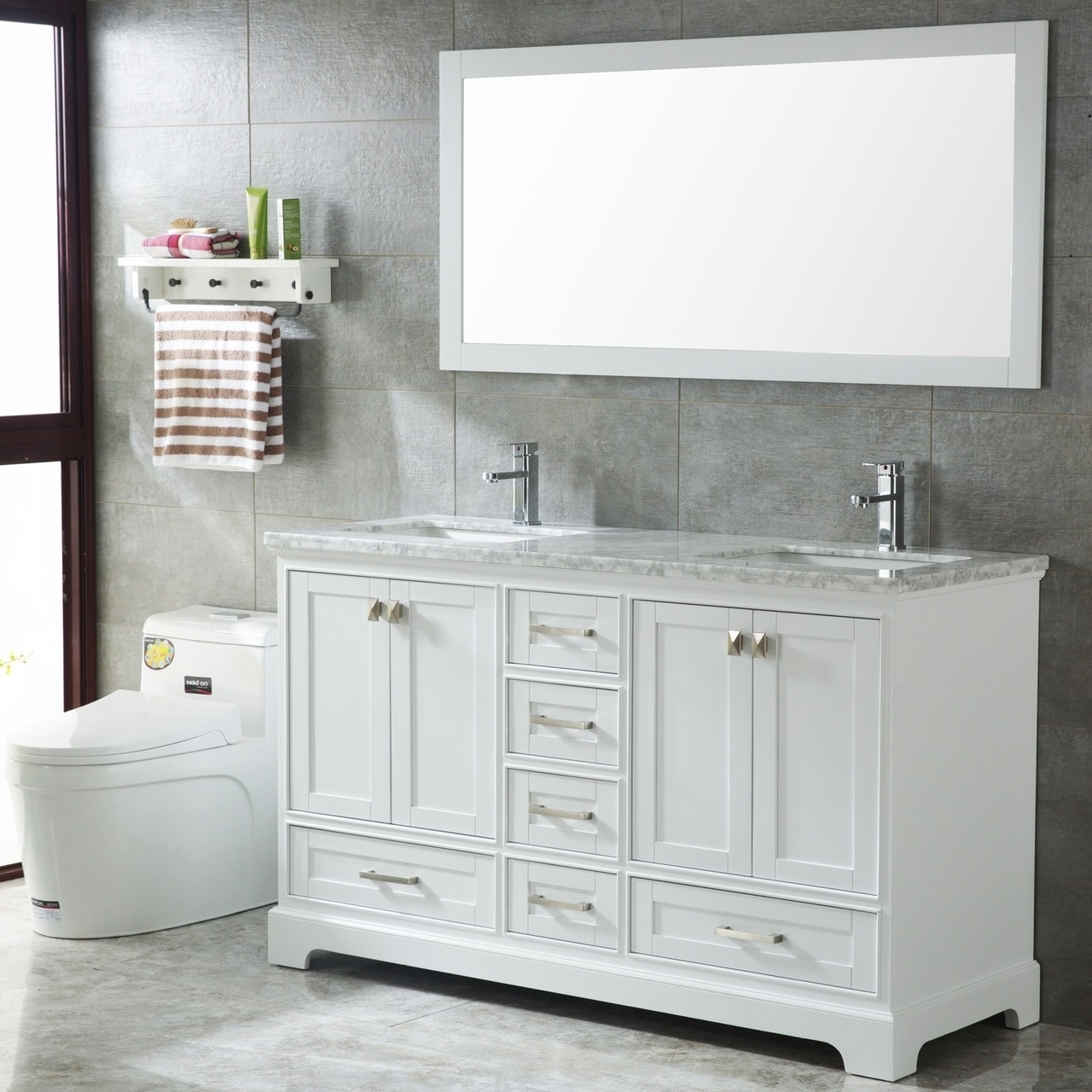 Double Sinks Modern Bathroom Vanity Set