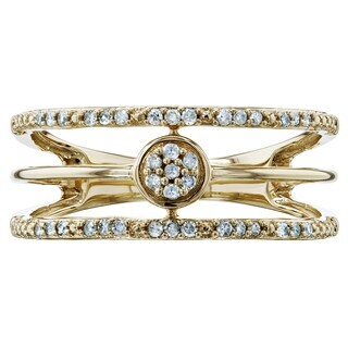 Annello by Kobelli 10k Yellow Gold 1/8ct TDW Triple Decker Stacked Diamond Band