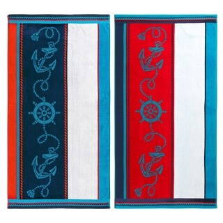 Superior Egyptian Cotton Sailing Striped Beach Towel (Set of 2)