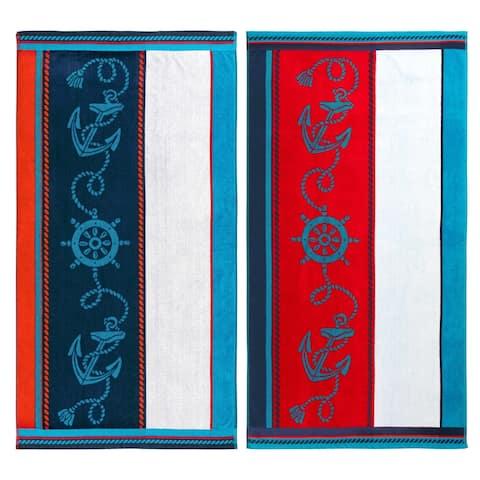 Superior Egyptian Cotton Sailing Striped Beach Towel (Set of 2)