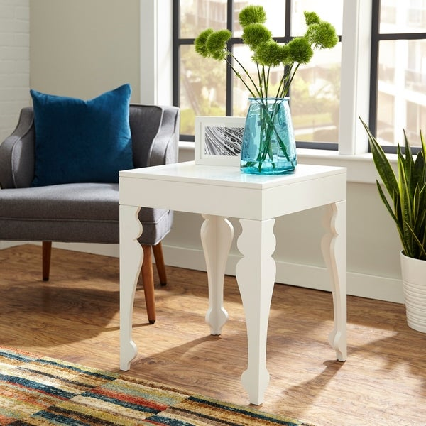 White Square End Table