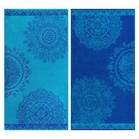 Superior Egyptian Cotton Floral Mandala Striped Beach Towel (Set of 2)