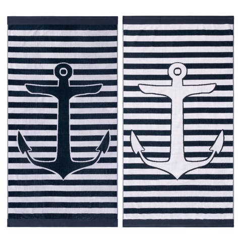 Superior Egyptian Cotton Yacht Club Striped Beach Towel (Set of 2)