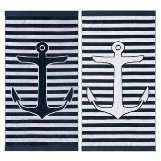 Superior Egyptian Cotton Yacht Club Striped Beach Towel (Set of 2)