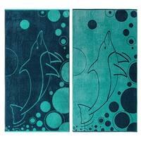 Superior Egyptian Cotton Mystic Dolphin Aquatic Beach Towel (Set of 2)
