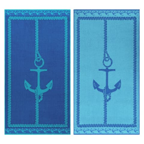 Superior Egyptian Cotton Fisherman Anchor Striped Beach Towel Set of 2