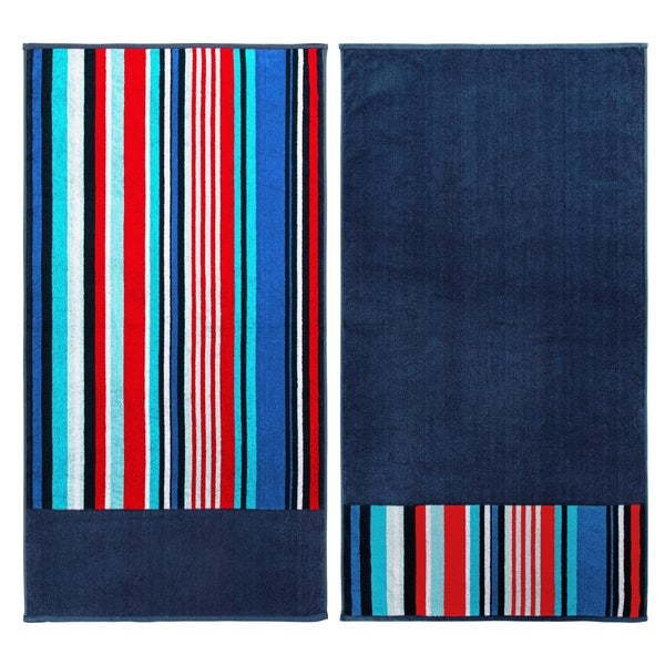 Nautical Flags Bath Towels: Shop Superior Egyptian Cotton Nautical Stripe Beach Towel
