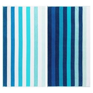 Superior Egyptian Cotton Coastal Blues Striped Beach Towel (Set of 2)