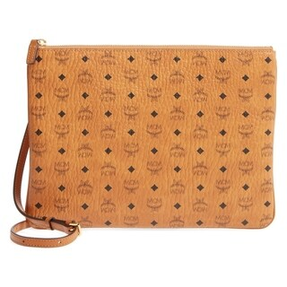 MCM Visetos Pouch Medium Cognac Crossbody