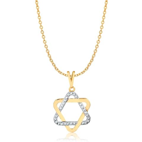 Gold Plated Two-Toned Star of David Pendant